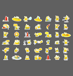 sticker robots big set character yellow color vector image