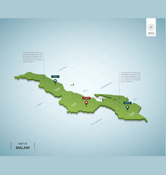 Stylized map malawi isometric 3d green map vector