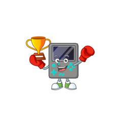 Super cool boxing winner game console in mascot vector