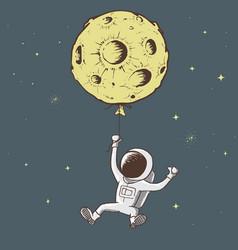 Sweet astronaut keeps for moon vector
