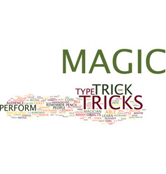 The art of magic tricks text background word vector