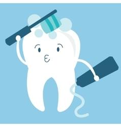 Tooth teeth brush him self cartoon character vector