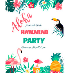 Tropical floral poster with toucan and flamingo vector