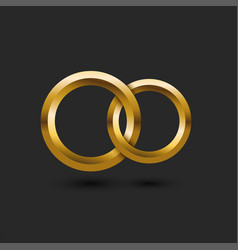 Two gold wedding rings 3d in shape vector