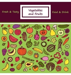 Vegetables and Fruits Doodle Card vector