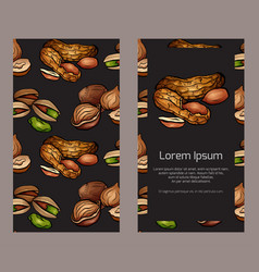 Vertical double sided banners with colored cartoo vector