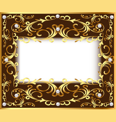Vintage background frame with vegetable golden vector