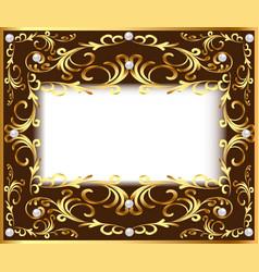 Vintage background frame with vegetable golden vector