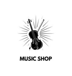 Violin in beams icon with bow vector