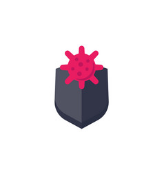 virus and shield icon on white vector image