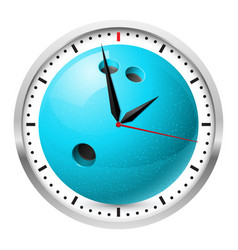 Wall clock bowling style on white background vector