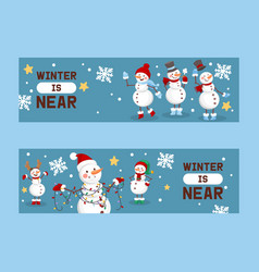 winter holidays snowman set banners vector image