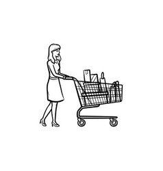woman with shopping cart hand drawn outline doodle vector image