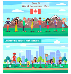 world environmental day connecting with nature vector image