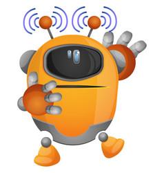 Yellow robot emitting electromagnetic waves on vector