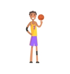 Basketball Player Turning Ball On A Finger Action vector image