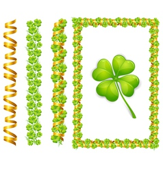 clover leaves and gold ribbons vector image