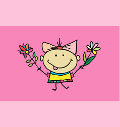 cute cartoon girl with flowers children vector image vector image