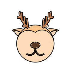 Drawing deer face animal vector
