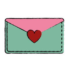 drawing pink and green email envelope message love vector image vector image