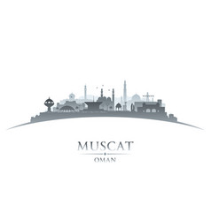 muscat oman city skyline silhouette white vector image vector image