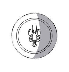 Sticker monochrome line contour with lobster in vector