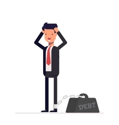 Businessman or manager holds hands behind his head vector image