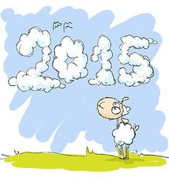 cute sheep looking at sky - funny vector image vector image