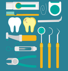 dental tools flat set vector image