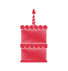 Drawing red birthday cake sweet vector