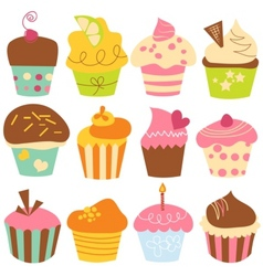 cute cupcakes set vector image vector image
