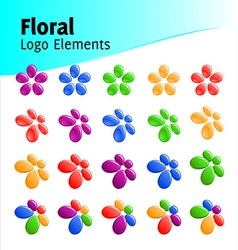 floral logo elements vector image vector image