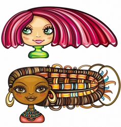girls with cool hair style vector image