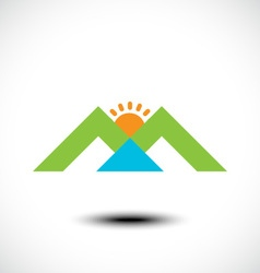 Mountain sun and river vector image