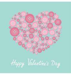 Pink heart made from buttons love card flat design vector