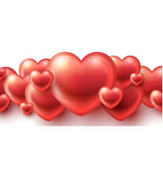 red hearts love background vector image
