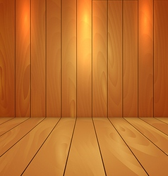 Wood floor and wall background with spot light vector