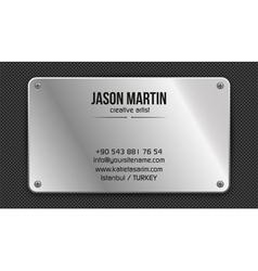 Grunge metallic business card vector image vector image