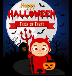 Halloween background with kids devil costume vector