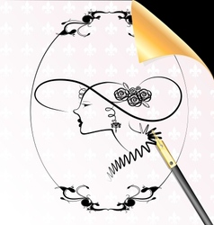 lady in the oval frame vector image vector image