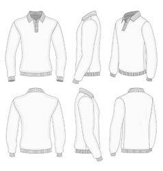 Mens white long sleeve polo shirt vector image