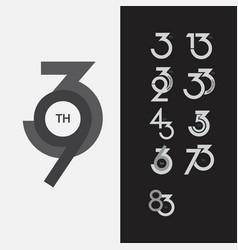 93 th anniversary set template design vector