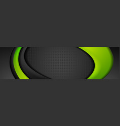 abstract green black corporate banner with smooth vector image