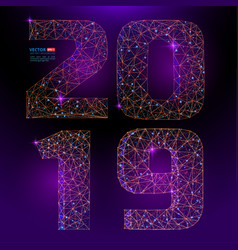 abstract polygonal numbers for new year 2019 vector image