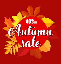 Autumn sale banner with autumn leaves on red vector