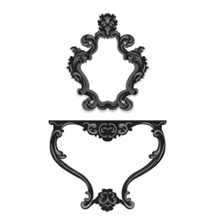 Baroque Table and Mirror frame set vector