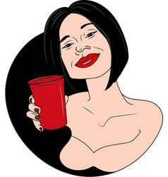 beautifull woman drinking wine vector image
