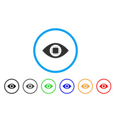 Bionic eye circuit rounded icon vector
