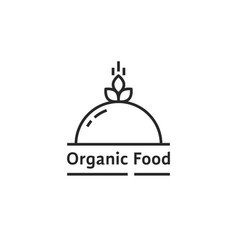 black organic food logo like dish vector image