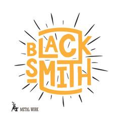 Blacksmith lettering logo design vector